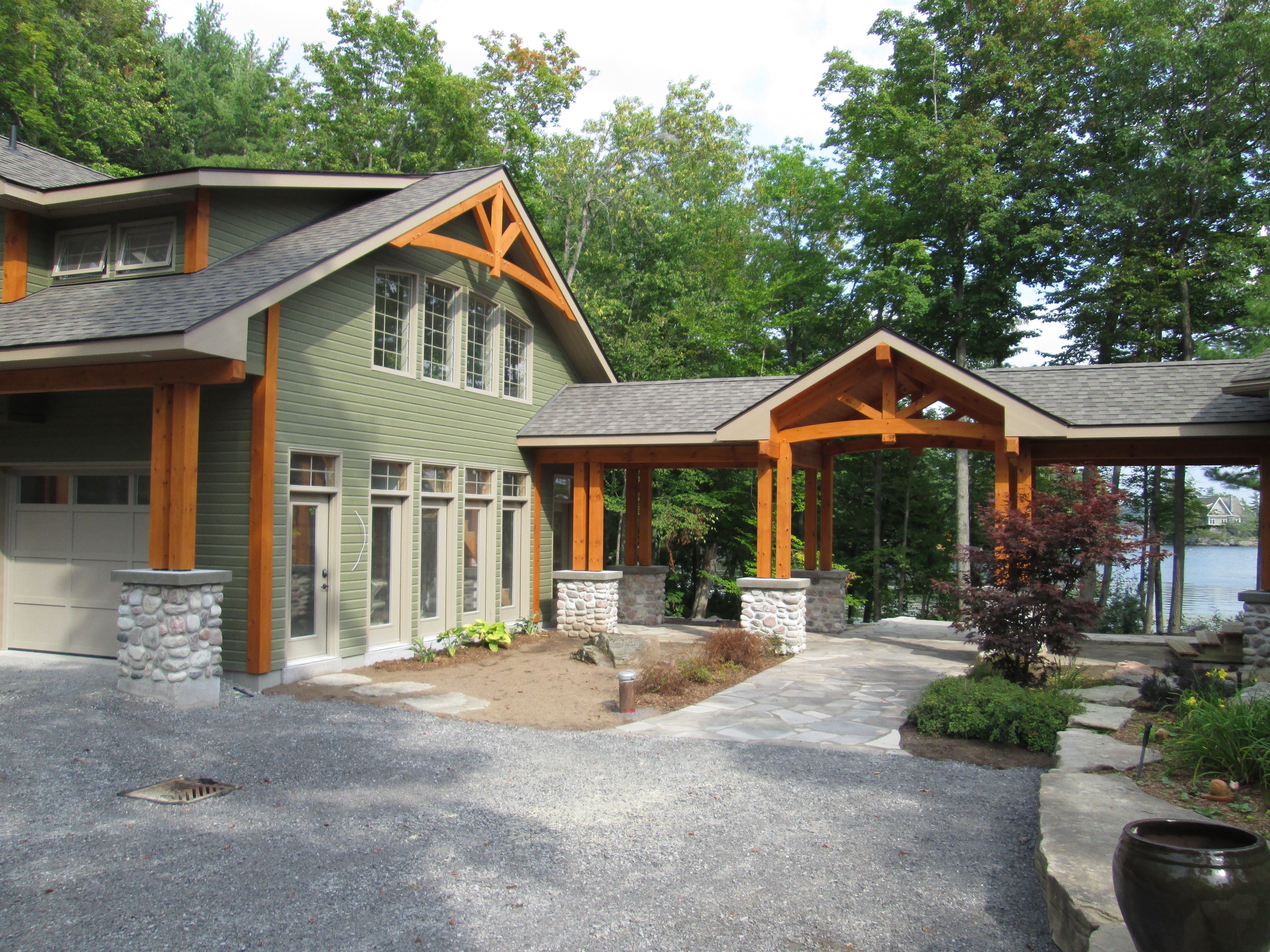 garage and timberframe breezeway by Integrity | Barn house ...