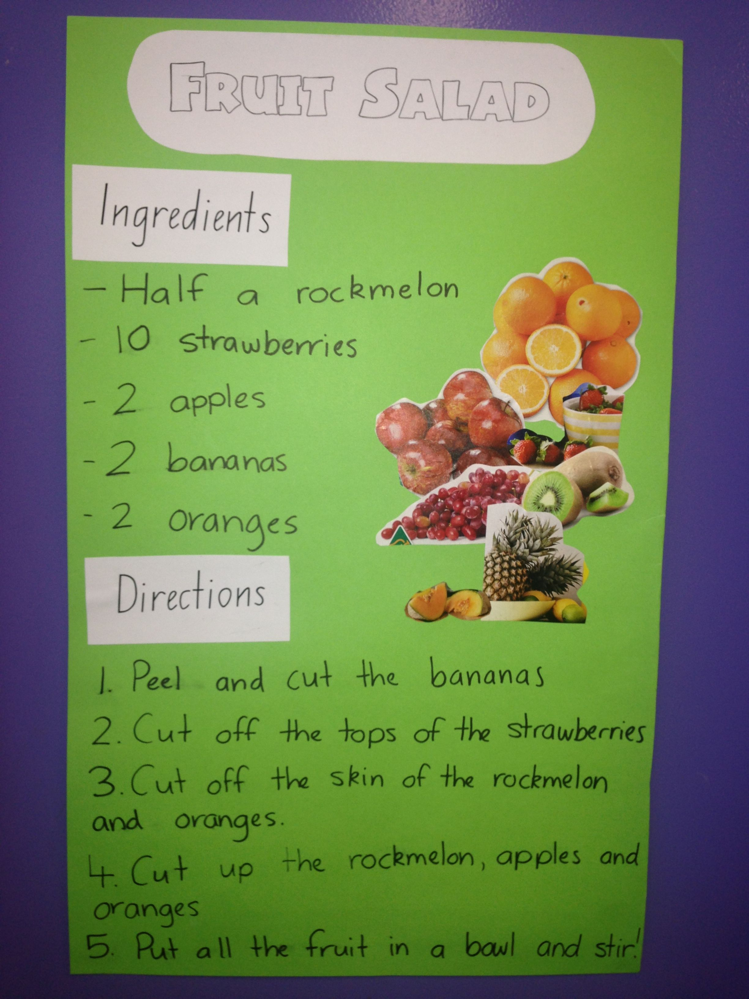 Organization Kindergarten Fruit Salad Recipe Whole Class
