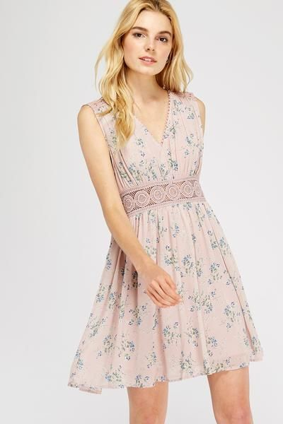 English Tea Floral Dress In Blush