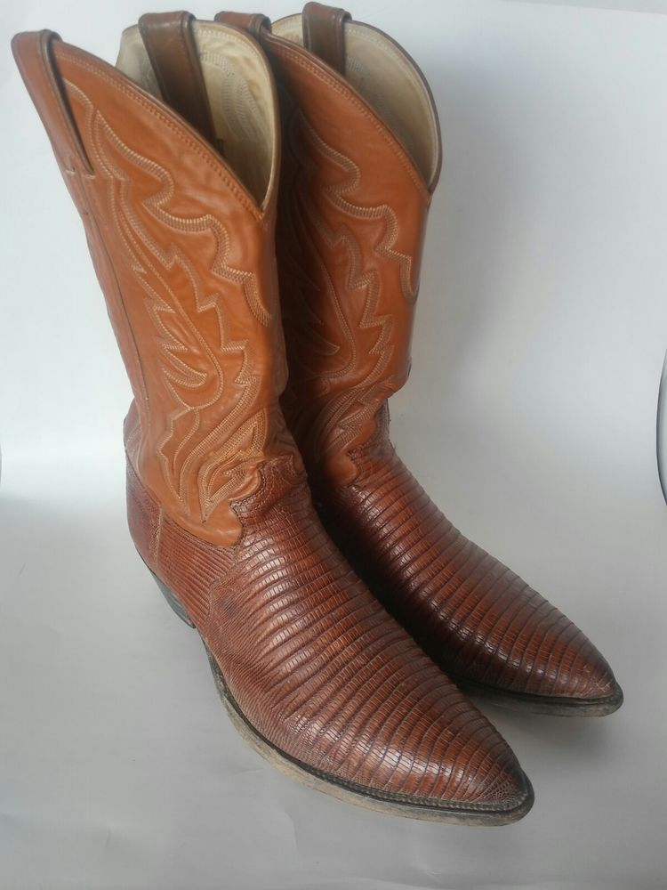 479bceef009 Justin Men's Brown Tan Lizard Skin Cowboy Boots Size 11.5D, Made in ...