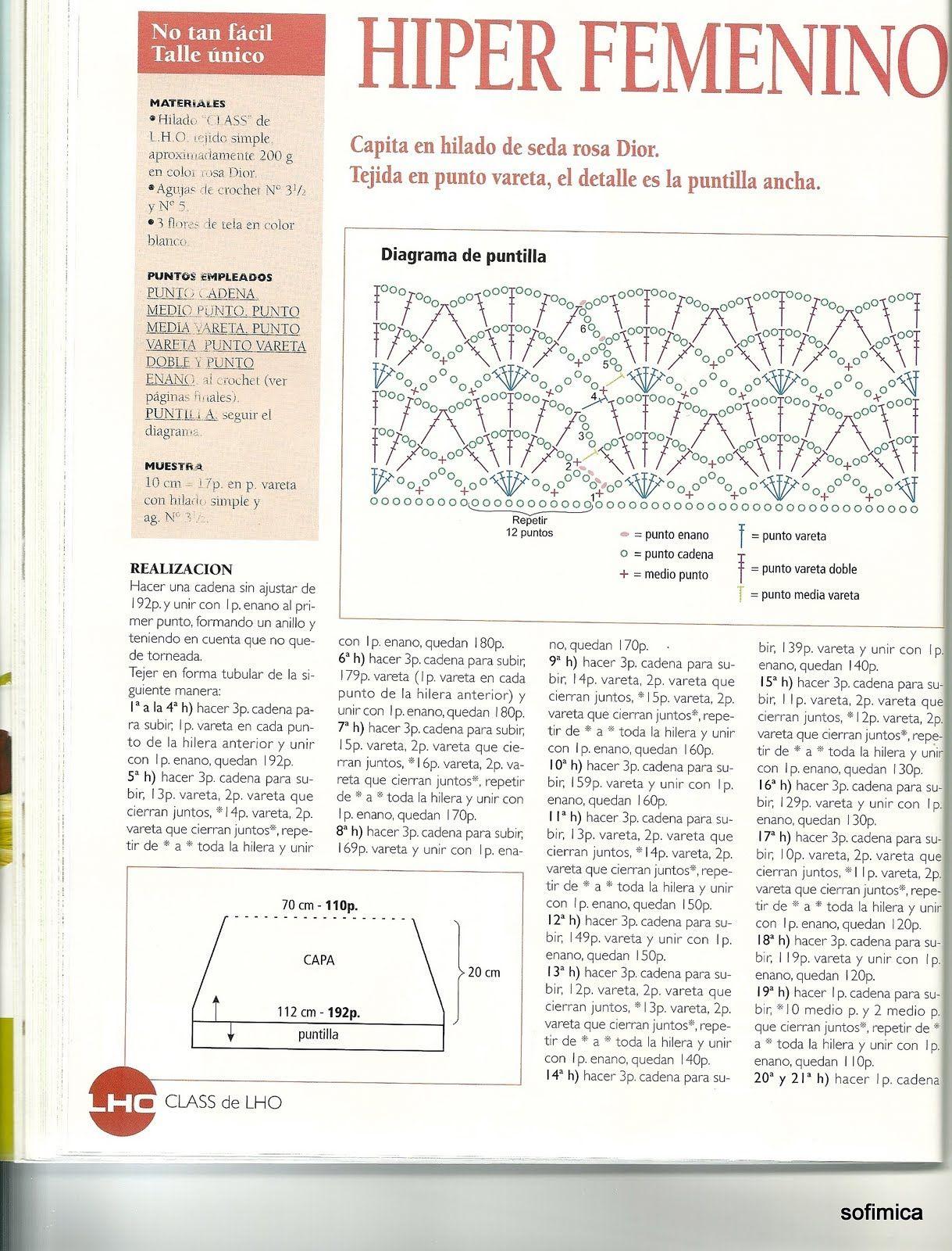 Patrones Crochet: Chal Hiperfemenino Patron | Chales, mañanitas ...