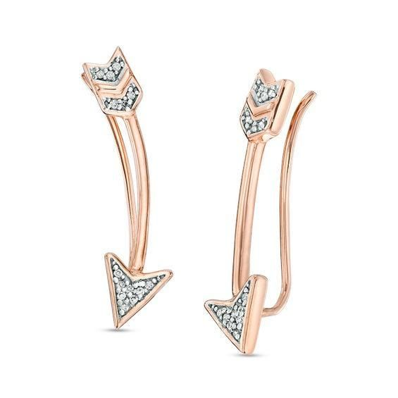 Zales Diamond Accent Cross Stud Earrings in 10K Rose Gold qhnOXLhG