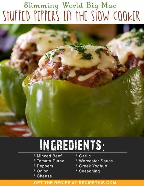 Slimming World Big Mac Stuffed Peppers In The Slow Cooker Recipe Stuffed Peppers World Recipes Slow Cooker Recipes