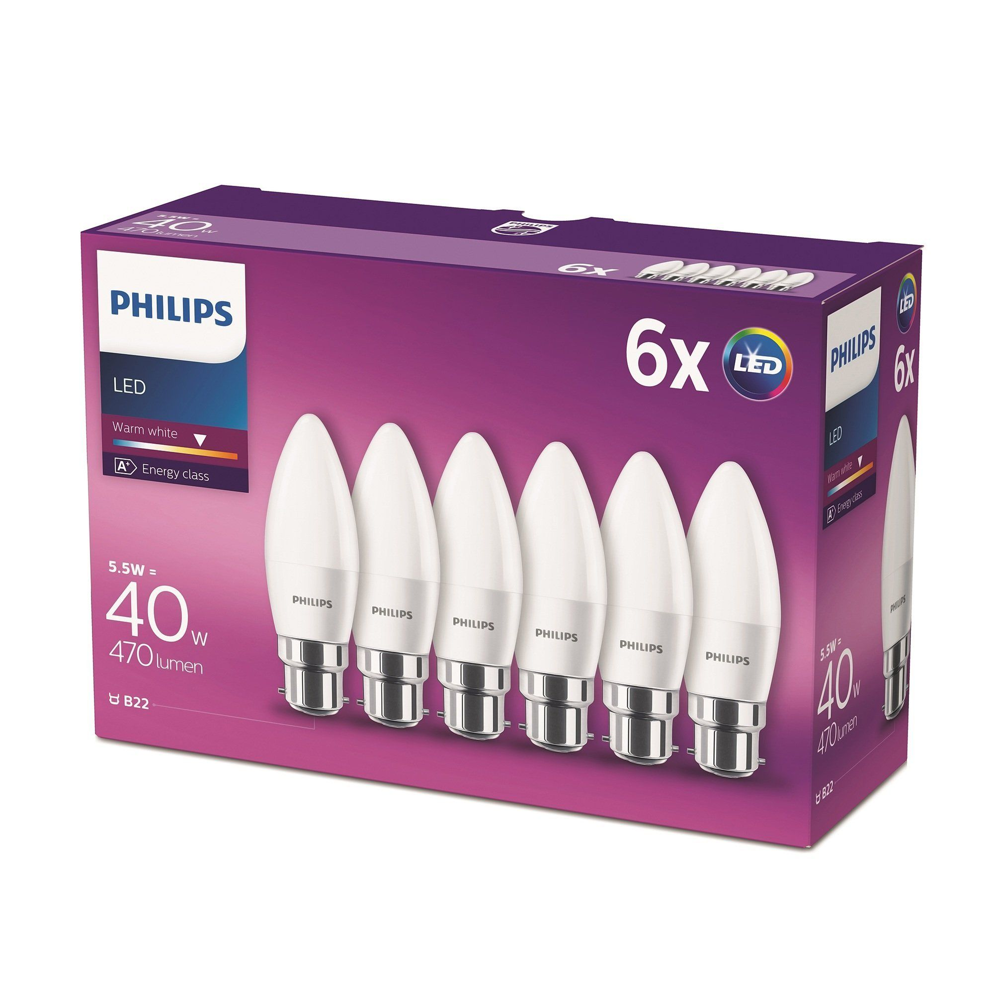 Philips Led B22 Bayonet Cap Candle Light Bulb Frosted 5 5 W 40 W Warm White Pack Of 6 High Quality L Light Bulb Candle Led Candle Lights Philips Led