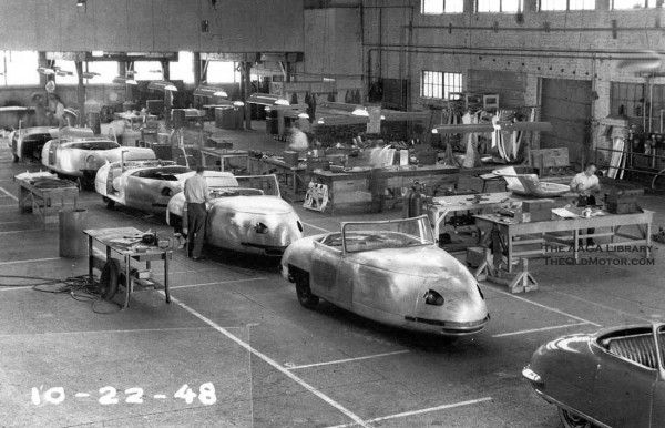 Tucker Car Being Built Above A View Of Cars Being Assembled At