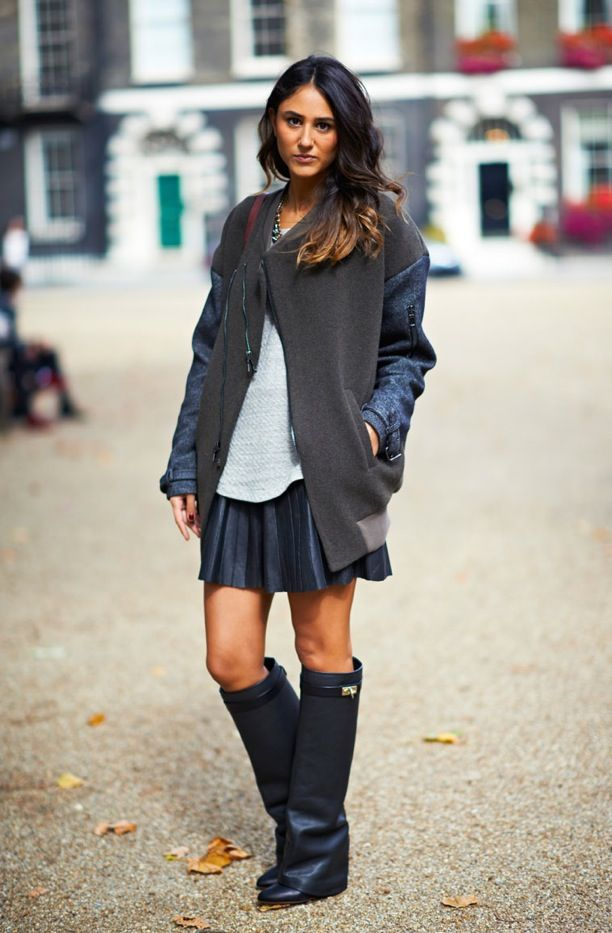 Street Style: Leather Skirts   Knee-High Boots LONDON FASHION WEEK ...