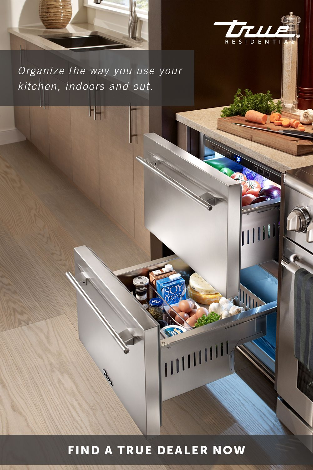 With Over 5 4 Cubic Feet Of Storage Space Refrigerator Drawers Are The Ideal Addition To Your I Kitchen Design Outdoor Kitchen Appliances Contemporary Kitchen