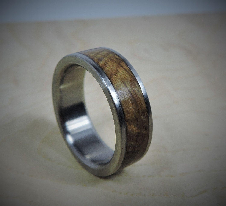 Titanium Ring Charred Oak Whiskey Barrel Inlay Ring Wood Ring