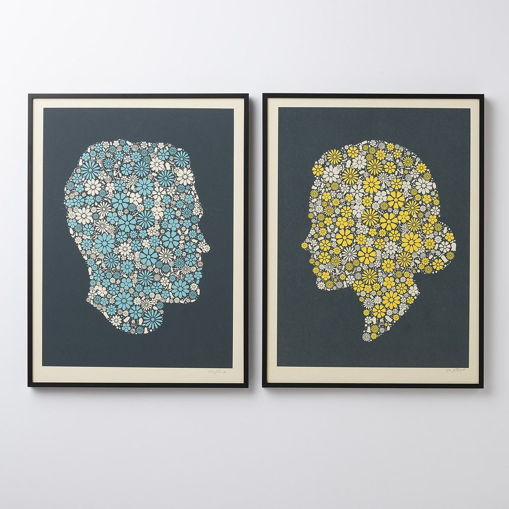 Master bedroom artwork  Flowering Confetti Hers Silhouette Print  gifts we love  Pinterest