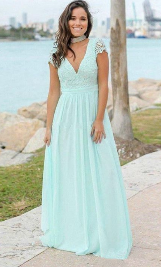 973b30330c3e Beautiful Simple Mint Green V-neck Backless Cap Sleeves Chiffon ...