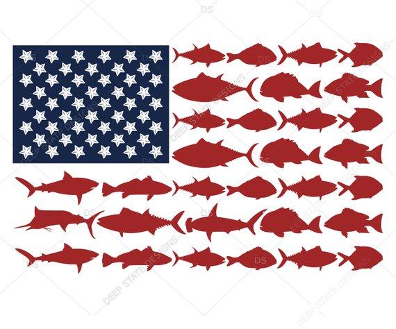 "American Flag Fish Decal Sticker USA Fishing Fisherman Patriotic 5/"""