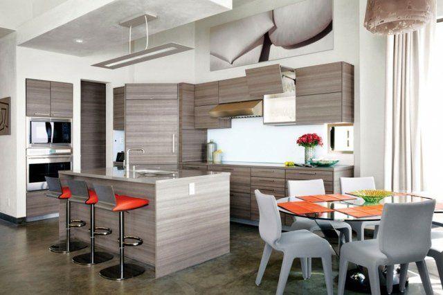 Cuisine américaine avec îlot centrale   comptoir Home sweet home - deco maison cuisine ouverte