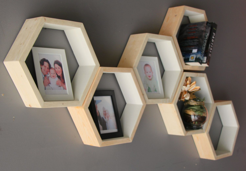 Geometric hexagon shelves mid century wood shelves wall shelving