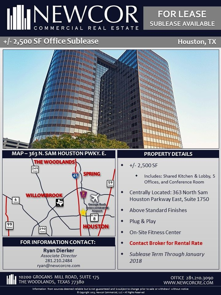 New Listing Sublease Available 2 500 Sf Office Space 363 N Sam Houston Pkwy Contact Ryan Dierker F Office Space Commercial Real Estate Sam Houston