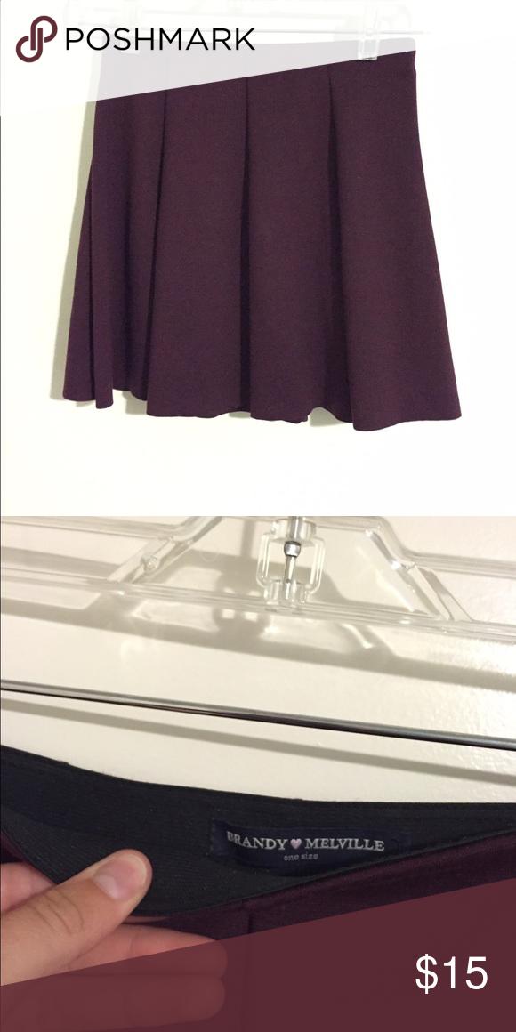 Burgundy Skater Skirt Never before worn Brandy Melville skirt! Purchased at Pacsun. In Great condition Brandy Melville Skirts Circle & Skater