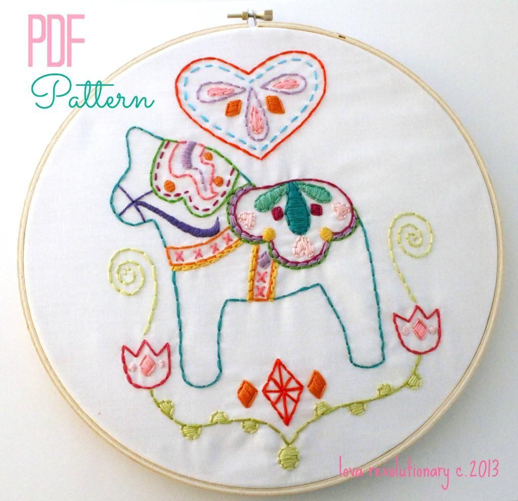 Dala Horse Embroidery Pattern PDF | Bordados escandinavos ...