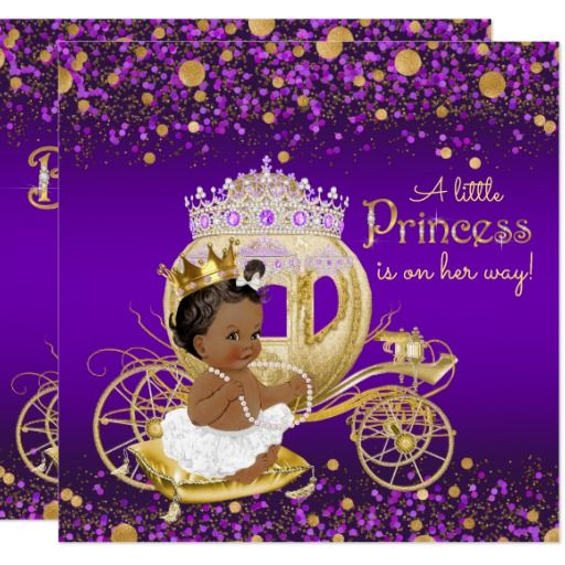 african american princess purple gold baby shower card | gold baby,
