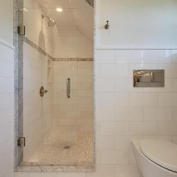 attic walk in shower with tiled sloped ceiling | sloped