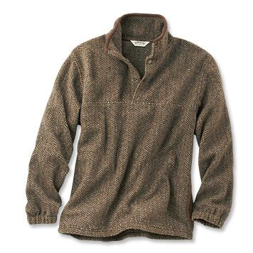 Just found this Mens Fleece Sweater - Suede-Trimmed Snap Fleece ...