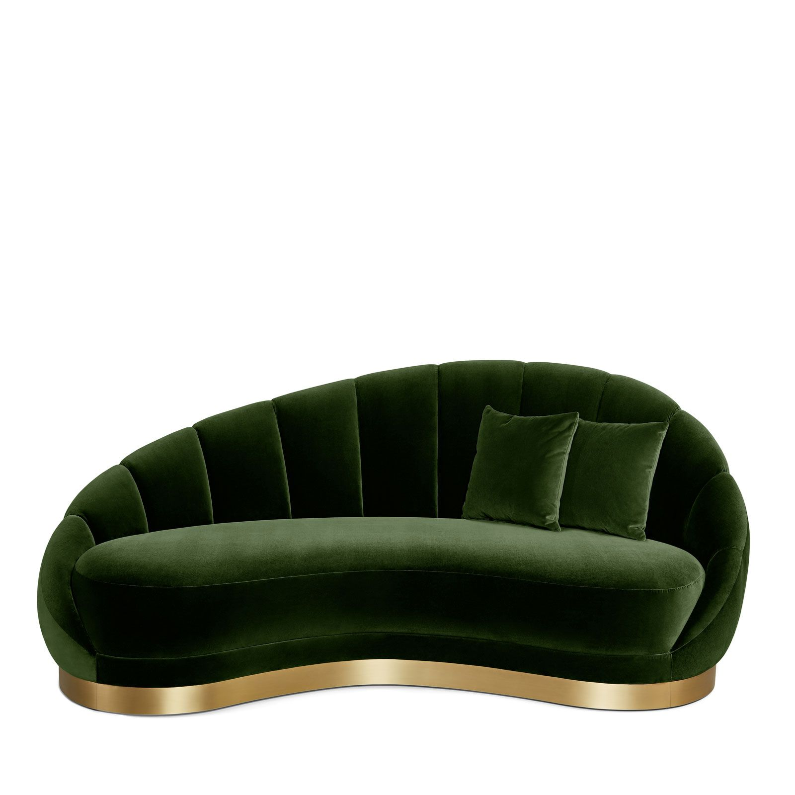 Art Deco Style Curved Sofa in Hunter Green Velvet with Brass Toe