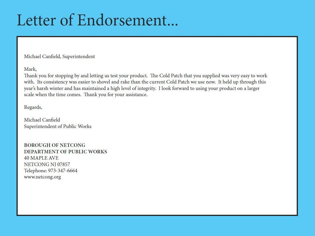 Letter Of Endorsement  Usage    Road Construction