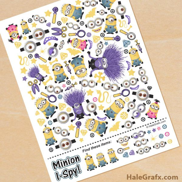 FREE printable Minion I Spy Game | Minions | Pinterest | Spy games ...