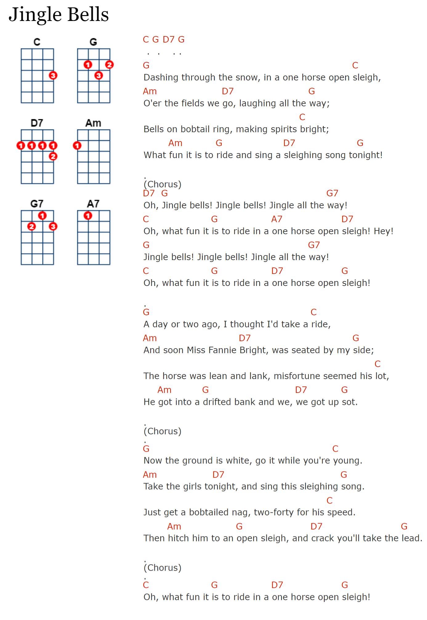 akkoorden bij jingle bells op de ukelele ukulele chords christmas kerst in 2019 ukulele