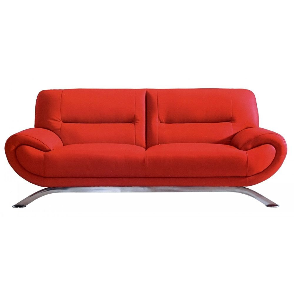 12 Pictures Of Excellent Red Leather Sofa Designs : Wonderful Red Leather  TwoSeat Sofa Design Inspiration With Chromed Metal Legs For Modern.