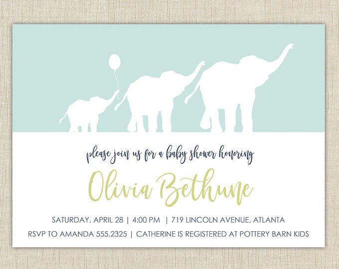 Baby Boy Elephant Shower Invitation Printable Or Printed