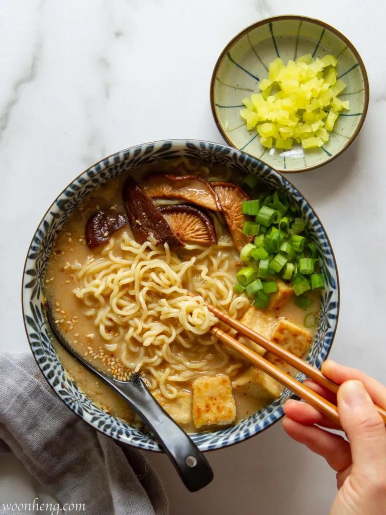 Creamy Miso Ramen Vegan Umami Slurpy Woonheng Recipe In 2020 Creamy Ramen Recipe Ramen Vegan Noodles Recipes