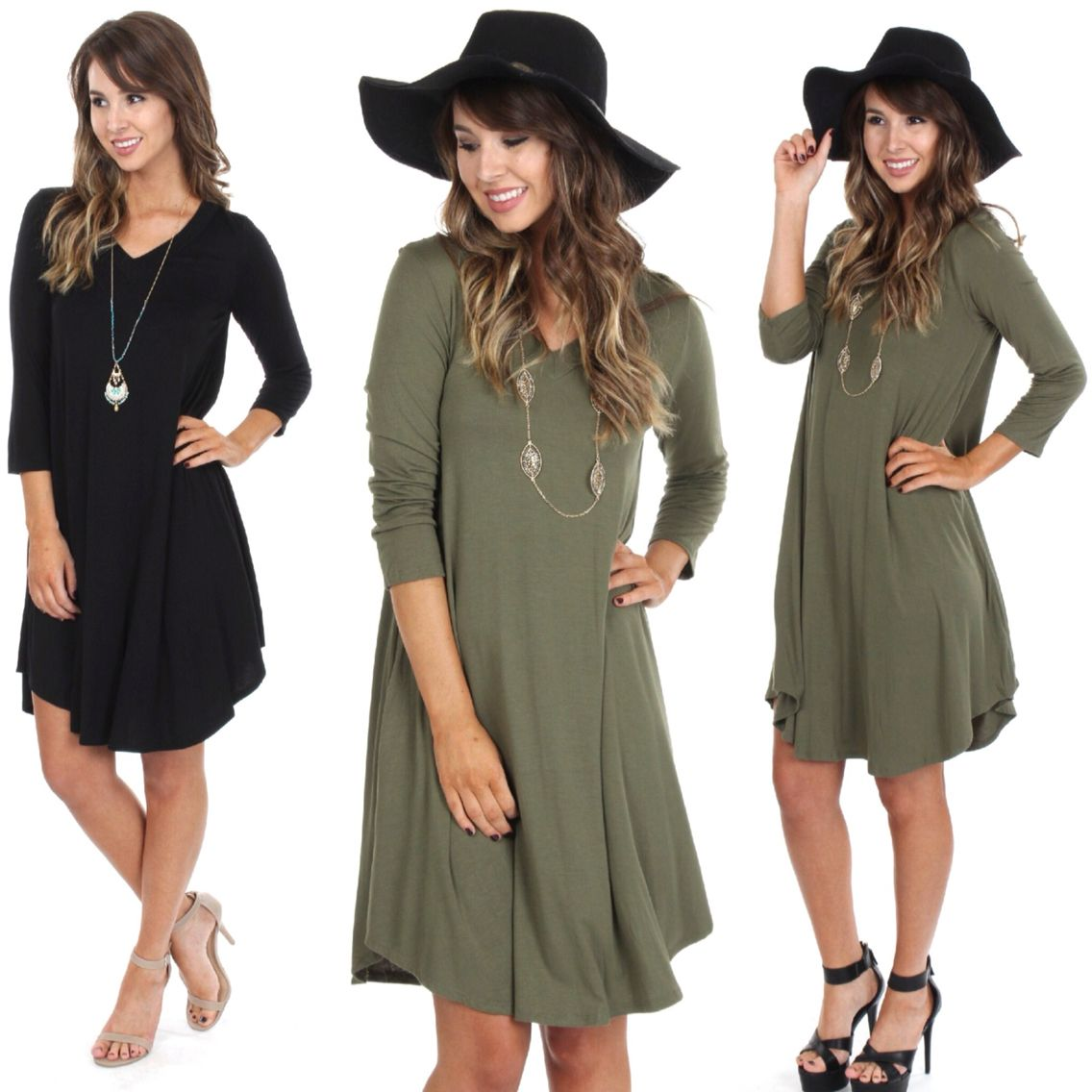 Ready, Set, FALL!! So excited for these comfy NEW ARRIVALS!!   V-Neck Midi Shift Dress ($29.99 at #4thandocean) also available in Olive   Wild West Buckle Hat ($18.99 at #sophieandtrey)   Visit us in store until 8p or head online to shop with FREE shipping! XO   www.sophieandtrey.com  #sophieandtrey #love #boutique #clothes #trend #fashion #fall #fun