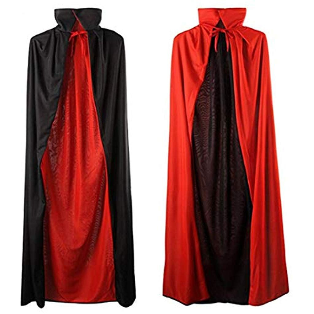 Cloak Party Vampires Cape Cosplay Costumes Black and Red Halloween Cape for Women Men Unisex Adult