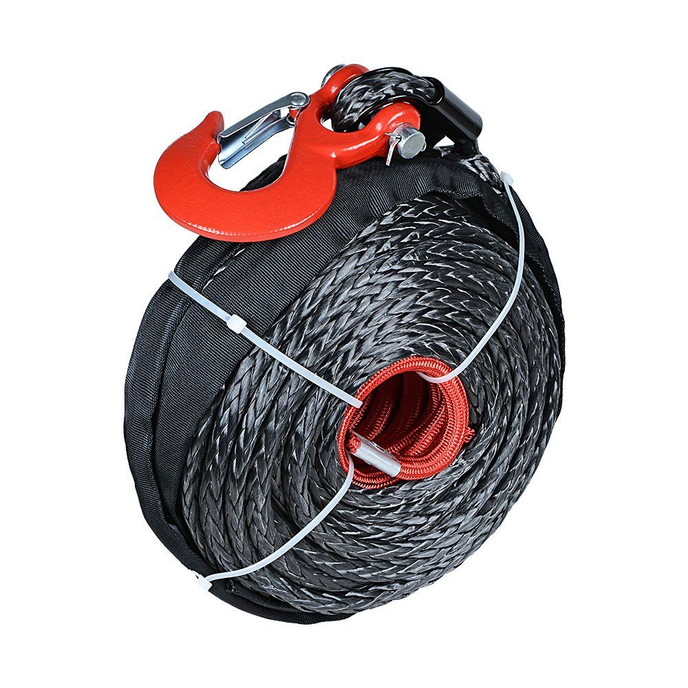 1 2 X 92ft Synthetic Winch Rope Black Cable Heat Guard Red Hook For Jeep Atv Utv Truck Boat Want Additiona Synthetic Winch Rope Winch Rope Black Cables