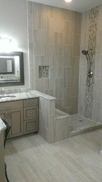 Master Bathroom Complete Remodel 12 X 24 Vertical Tile Contemporary Austin Custom Surface Solutions