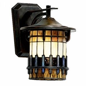 Outdoor Craftsman Style With Tiffany Glass Wall Sconce