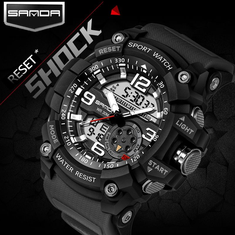 Smael Brand Men Sports Watches Dual Display Analog Digital Led Electronic Quartz Wristwatches Waterproof Swimming Military Watch Mens Watches Military Mens Sport Watches Sport Watches
