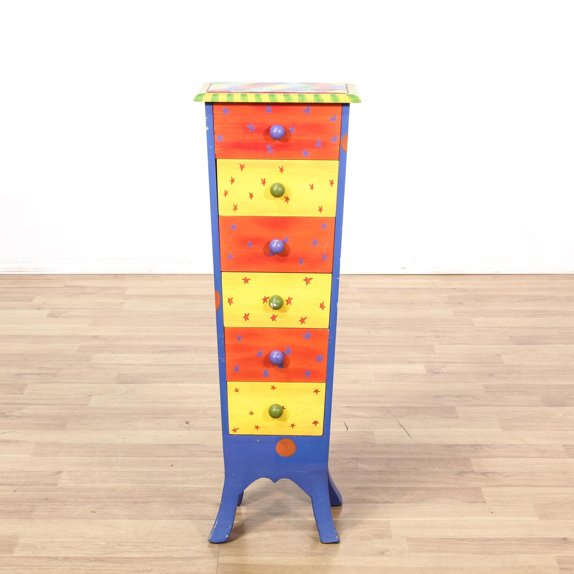 This tall dresser is featured in a solid wood with a multicolor