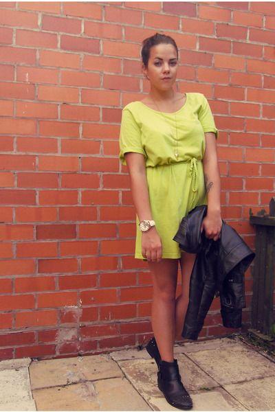 lime green shirt dress