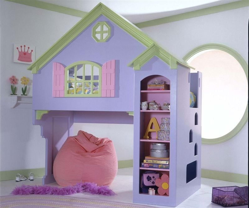 Doll House Painted Loft Bed For Little Girls Painted Dollhouse Castle Loft Bed In Purple Green And Soft Pink Is House Bunk Bed Dollhouse Bed Kids Doll House