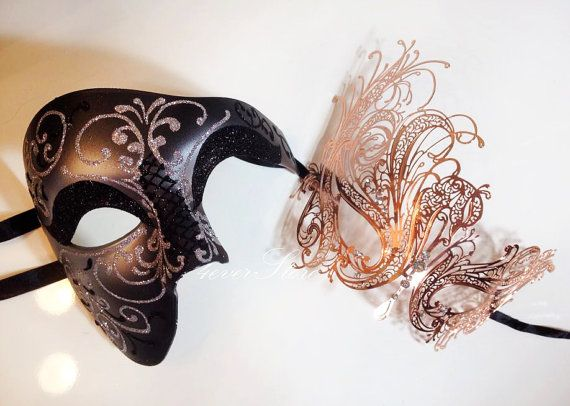 Elegant Black And Rose Gold Themed Half Mask Masquerade Party