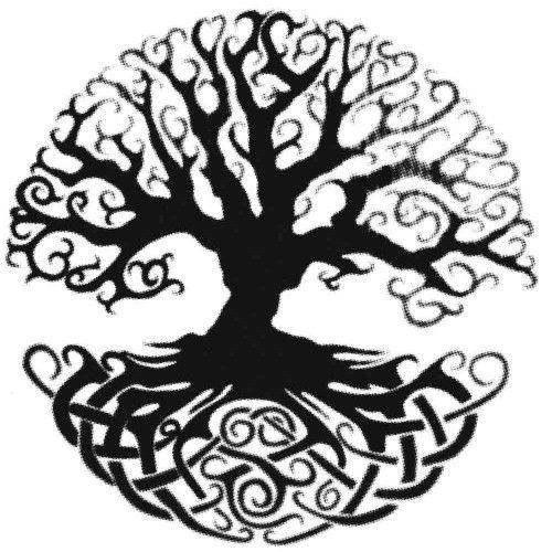 celtic tree of life black on white 100x100cm tattoos