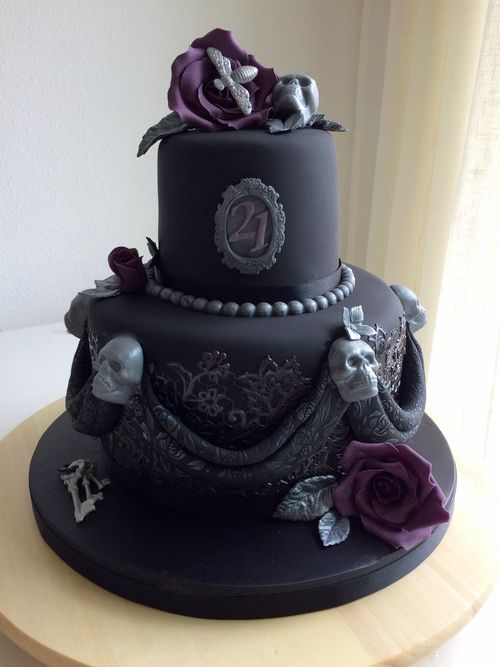 Fabulous Gothic 21St Birthday Cake Gothic Wedding Cake Halloween Wedding Funny Birthday Cards Online Aeocydamsfinfo
