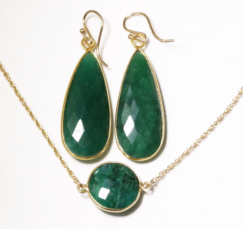 Precious Emerald 2-pc SET Necklace & Earrings Set Genuine Emerald Earrings Emerald Necklace May Birthstone BZ-SET-152-Em/g by elizabethlydonstudio on Etsy