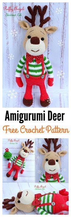 20 Crochet Reindeer Patterns   Muñecos navideños, Navidad y Tejido