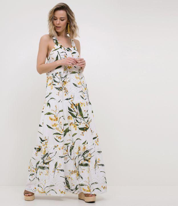 5a9b636fa0 Vestido Longo Floral Branco - Renner