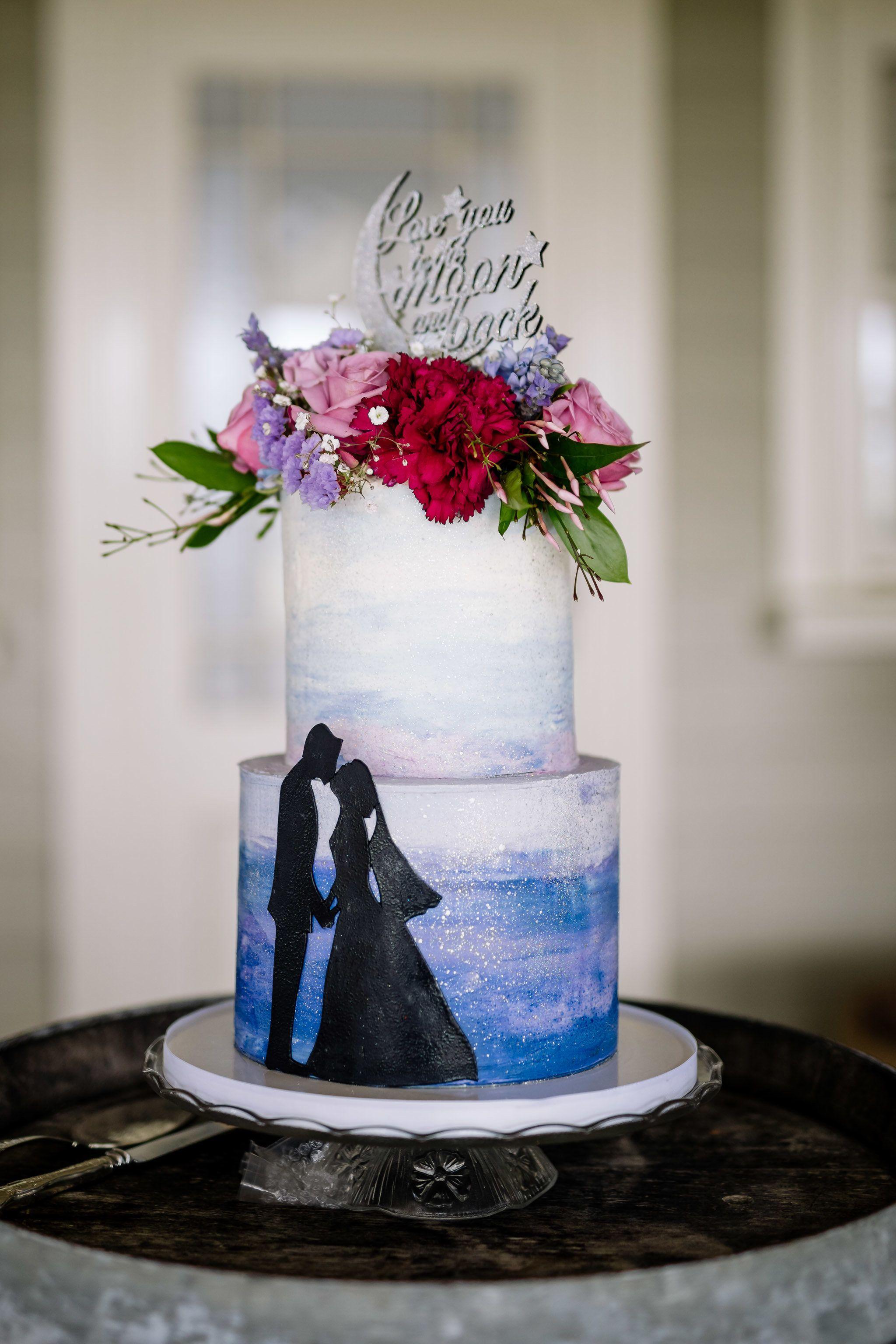 Modern elegant wedding cake design inspired by romance and true love