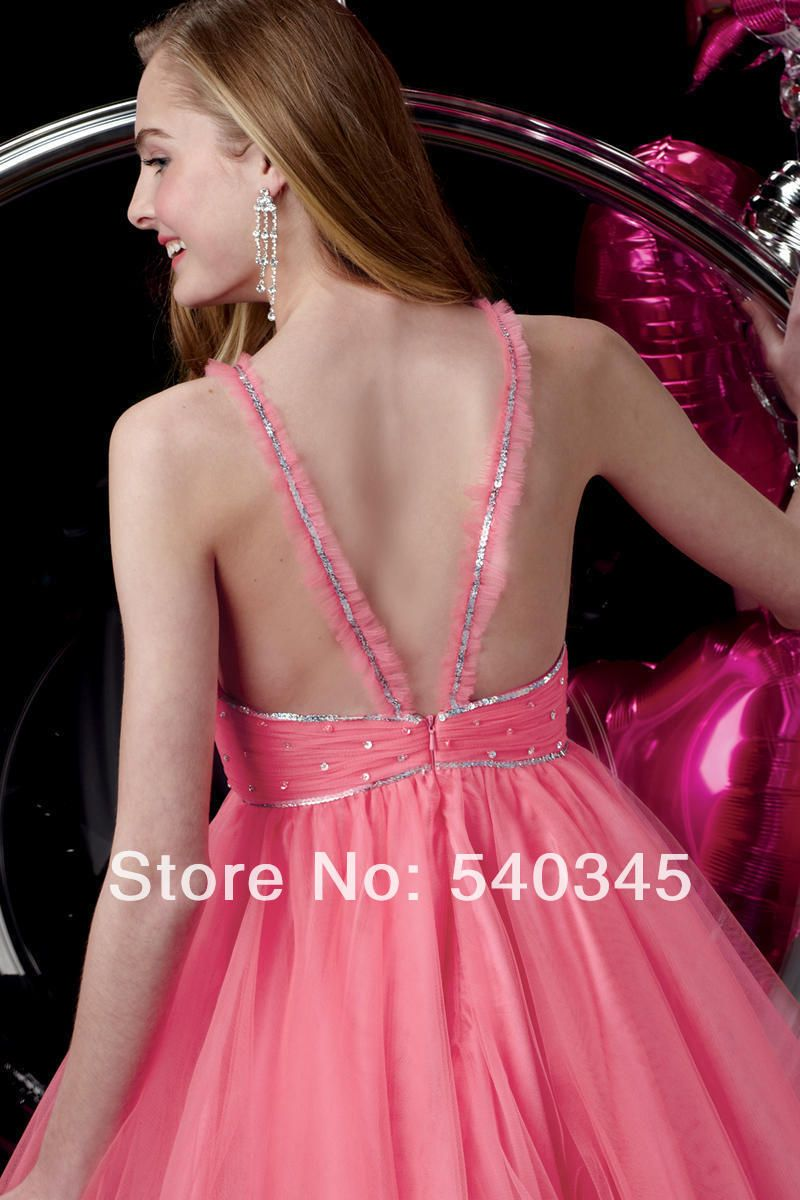 2014 Spaghetti Strap Pink Sexy Backless Short Party Dress New ...