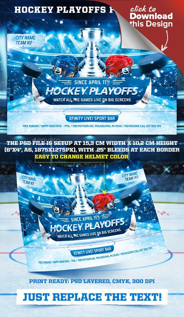 Hockey Playoffs Flyer Template vol.2 | Flyer template and Template