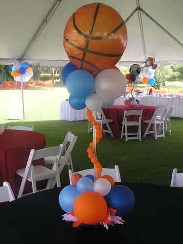 Sports themed baby shower sports theme centerpiece for Decoracion deportiva