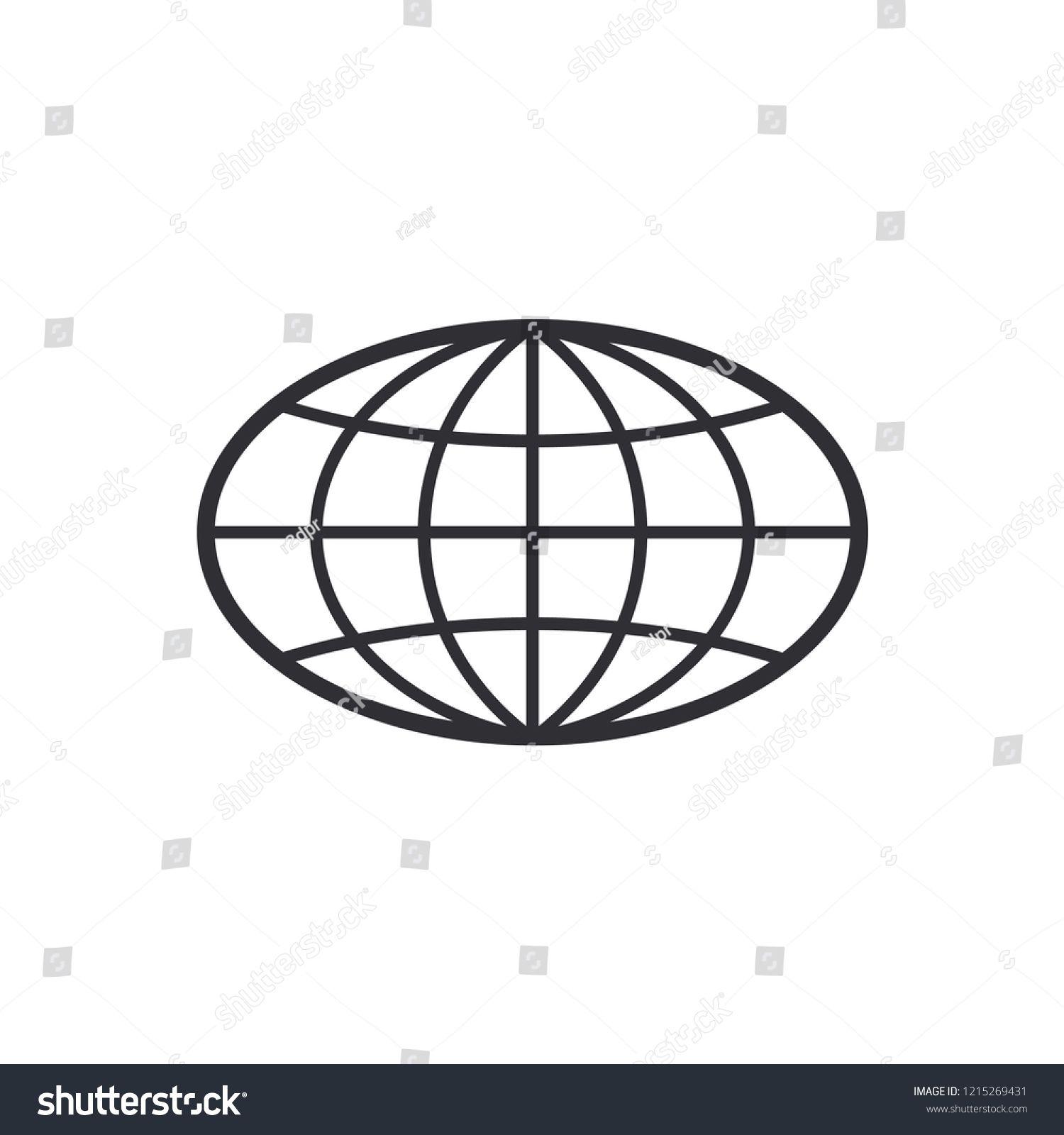 Globe Icon World Symbol Oval Globe Icon World Globe Symbol Earth Sign Color Easy To Edit Transparent Background N S Globe Icon Oval Logo Globe Vector